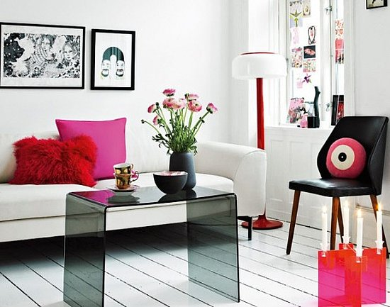 Black And White And Pink Living Room opposition room design - country home design ideas